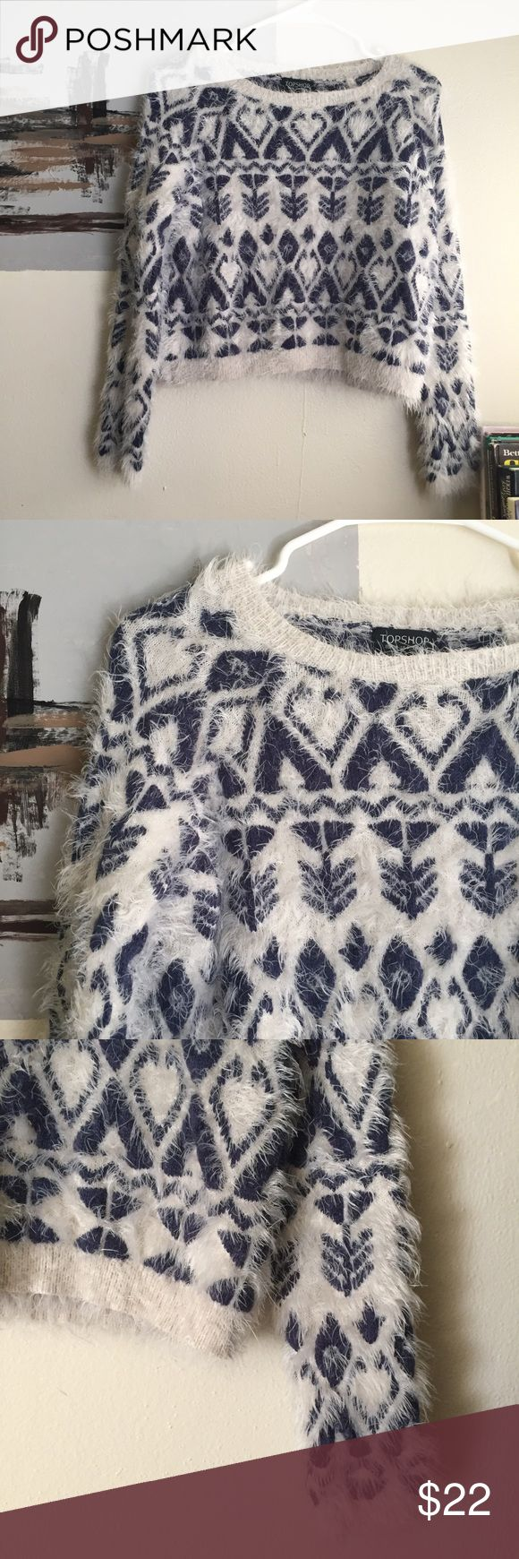 TOPSHOP Fluffy lovely print blue & cream crop top It's NWOT. No imperfections at all. Just didn't fit me. Ask if have any questions. Topshop Tops Crop Tops
