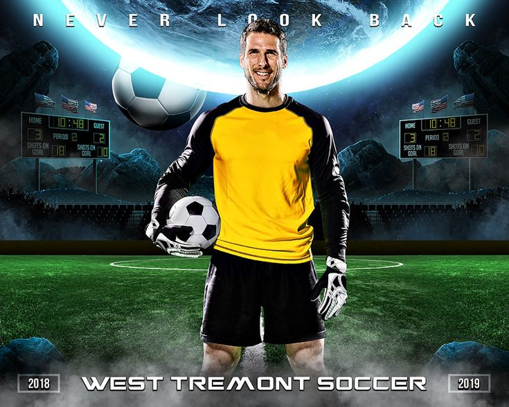 Sports Poster Photo Template - Space Soccer - Photoshop Sports Template