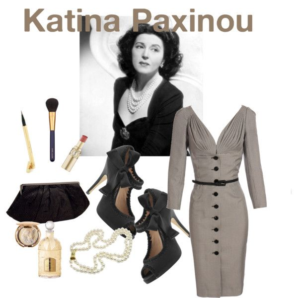 """""""Greek Actresses of the 1940s-Katina Paxinou"""" by evitastyle on Polyvore"""