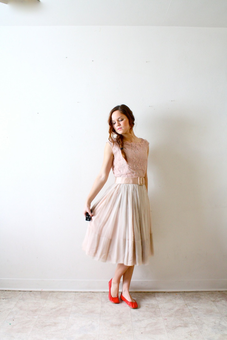 Vintage peachy tan Wedding dress short length by ThisVintageGirl
