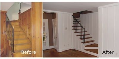 Painted wood panel. DIY stair well redo from pine wood panelling to white trim, beautiful change with paint