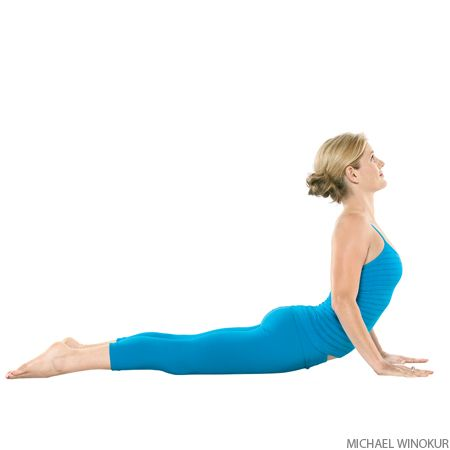 COBRA | Bhujangasana | Yoga Pose helps in regulating thyroid glands. Lie prone, hands under shoulders, elbows close to body. Inhale and straighten arms to lift chest off floor. Hold pose 15 to 30 seconds, breathing easily. Release back to the floor with an exhalation.