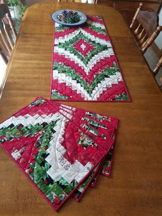 Set of four Christmas Bargello Placemats and matching by sosewbig