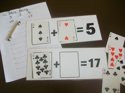 First Grade School Box: Math Playing Card Mats
