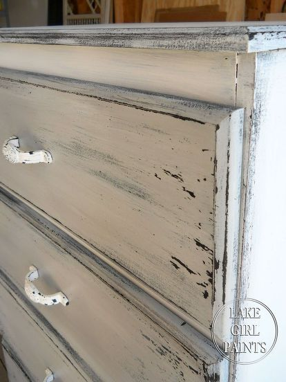 get the gray and white chippy look on your old furniture, painted furniture