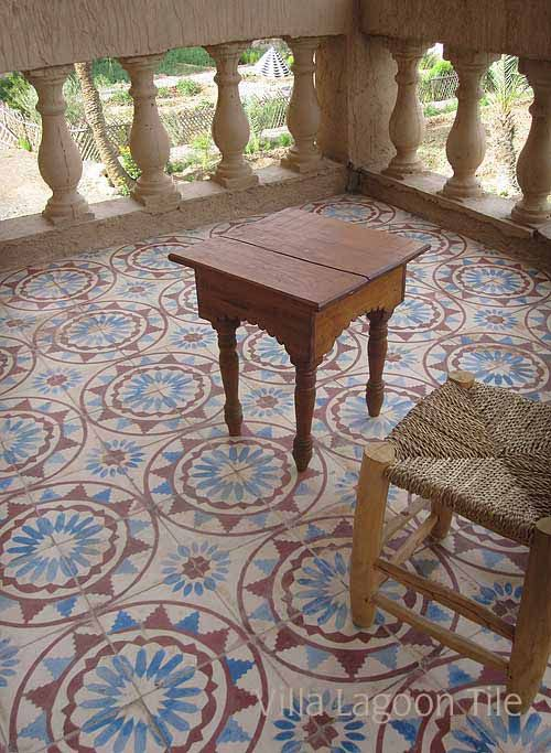 Moroccan Encaustic Cement Tiles | Villa Lagoon Tile -- doesn't just work on a porch. Put in a sunny bathroom with simple fixtures such as a stand alone cast iron tub.