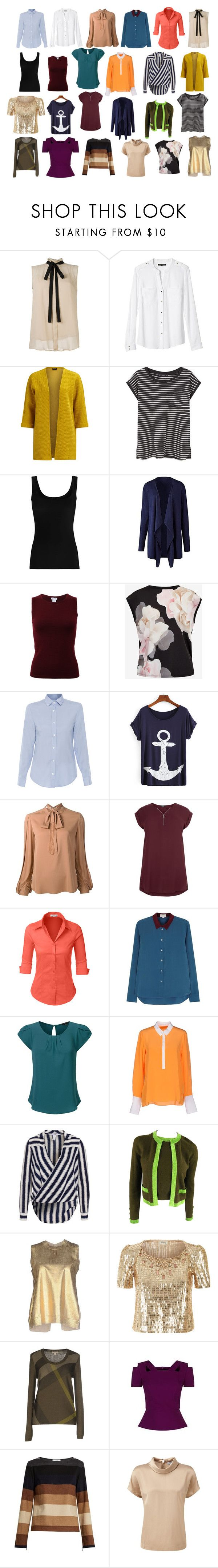 """DC tops and blouses A"" by jesmondee on Polyvore featuring Banana Republic, VILA, MANGO, Twenty, Oscar de la Renta, Ted Baker, Amina Rubinacci, Kobi Halperin, New Look and LE3NO"