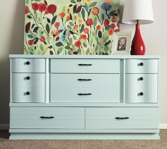 Dresser makeover - Cluck Cluck Sew; this was a super cheap yard sale very worn dresser.  I REALLY need to start learning to repaint furniture!!