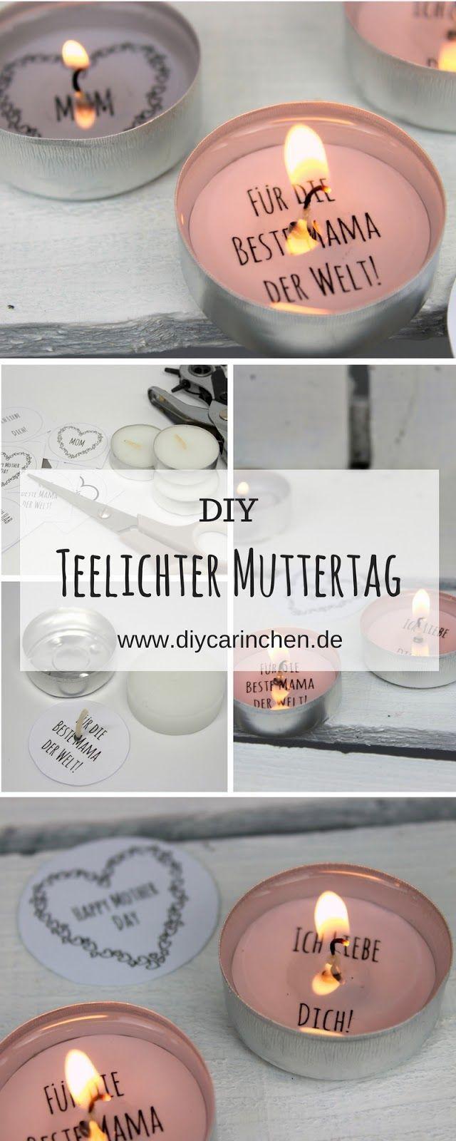 DIY Geschenk zum Muttertag – Teelicht mit Liebesbotschaft selber machen (+ kostenlose Vorlage)