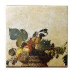 Caravaggio - Basket of Fruit - Classic Artwork Ceramic Tile #weddinginspiration #wedding #weddinginvitions #weddingideas #bride