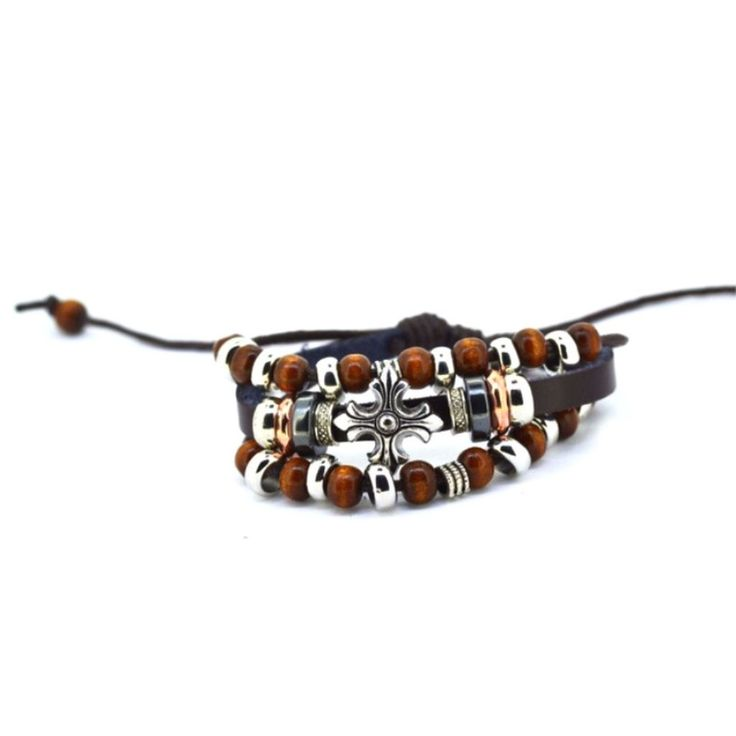 Handmade Leather Bracelet With Wooden Beads & Cross