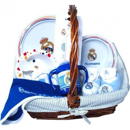 Cesta Real Madrid 1 - La hora de comer del Real MAdrid, la mejor cesta para bebé con productos de licencia Oficial del Real Madrid - Envíos a toda España