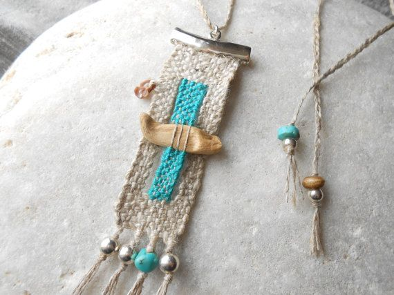 Hand Woven Necklace *by the sea* - Tapestry Miniature with Driftwood, Silver, Linen, Turquoise and Sea Shell - textile jewelry - fiber art