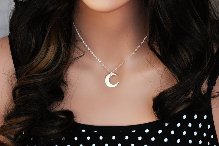 Excited to share the latest addition to my #etsy shop: Crescent moon necklace -  Moon necklace silver - Moon necklace gold - Moon Necklace Choker - moon phase necklace - Monogram & Name Necklaces