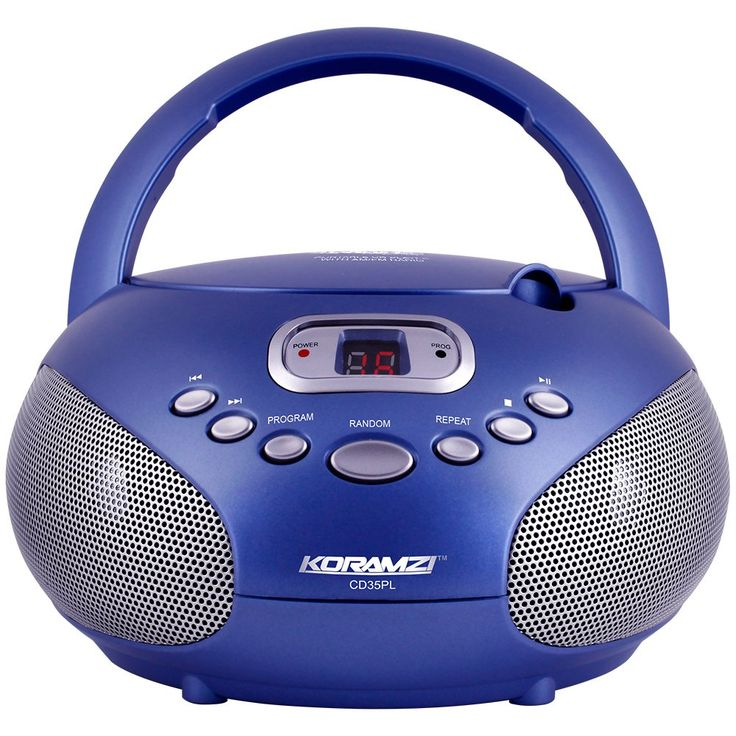 Koramzi Portable CD Boombox Stereo Sound System with Top-Loading CD Player, AM/FM Radio, and Aux Line-In- CD35 (Blue)