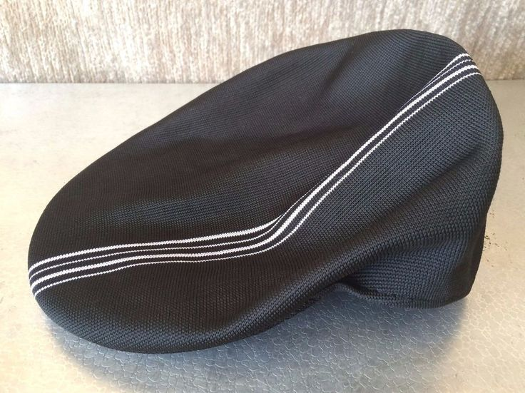 #Kangol 504 Henley Stripe #Cap #Newsboy #Cabbie #Hat. Iconic Kangol kangaroo logo on back. Black with white stripe detailing.