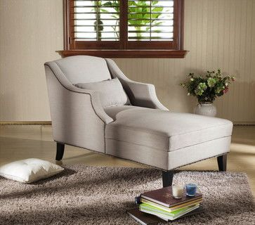 Asteria putty gray linen modern chaise lounge for the for Bay window chaise lounge