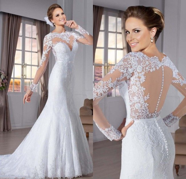 Vestido de noiva sereia See Through Back Mermaid Wedding Dresses Sexy Wedding Dress Long Sleeve 2015 Lace Wedding Dress