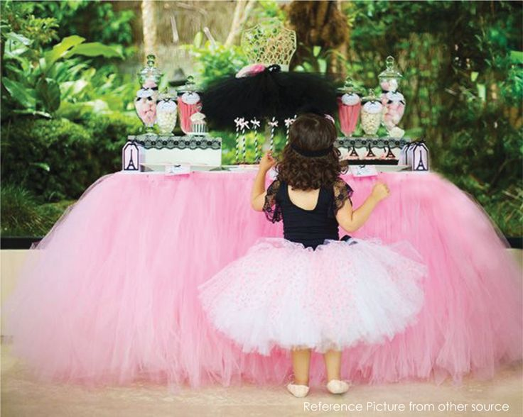 Pink Tutu Table Skirt CUSTOM MADE Tulle Tableskirt For Princess Party Candy  Table Wedding Head Table