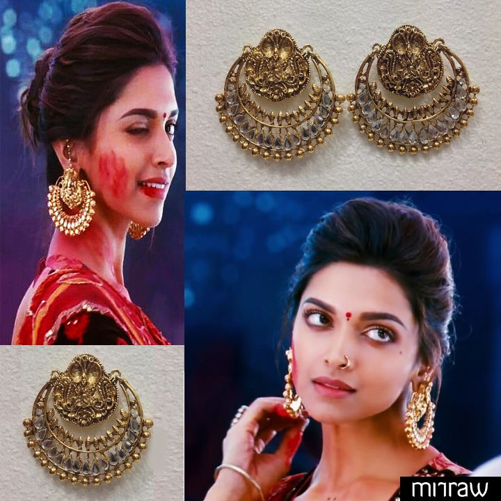 Original Ramleela Earrings look-a-like in White Stones. The earrings shown by Deepika Padukone, famous Bollywood Celebrity. No Pearls.