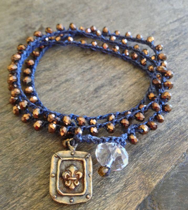"""Crochet 3x Wrap Bracelet, 2x Anklet, Necklace Fleur de Lis """"Glam Chic"""", via Etsy."""