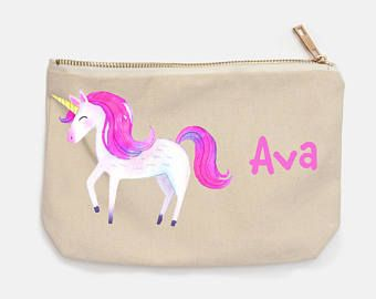 Unicorn with Pink Mane Personalized Pencil Case for Back To School, girls pencil case