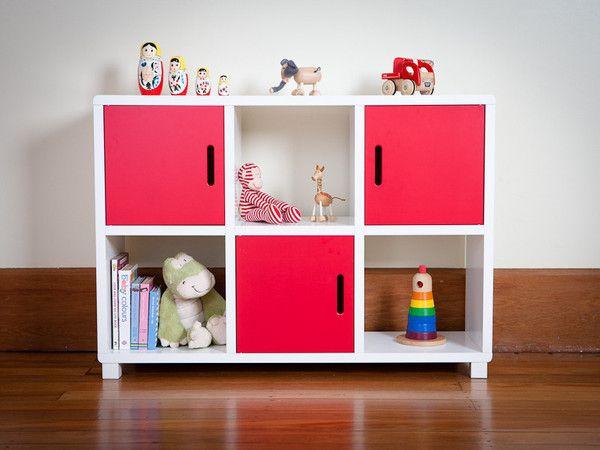 Storage Unit - Six Cubes Red Doors
