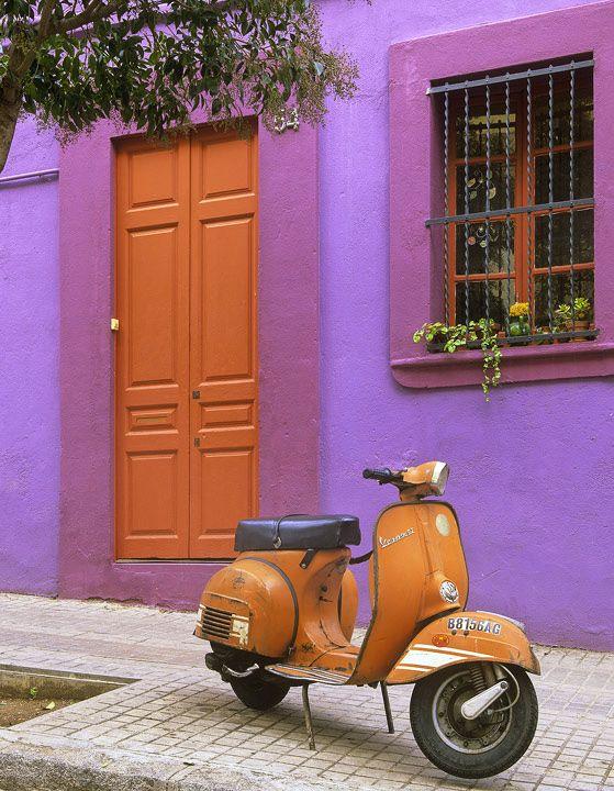 Barcelona, chic, Spain, Gaudi, Parc, street, orange, scooter photo