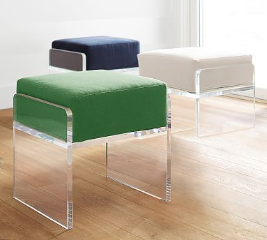 Octavia Stool, velvet pillow with lucite bench stool