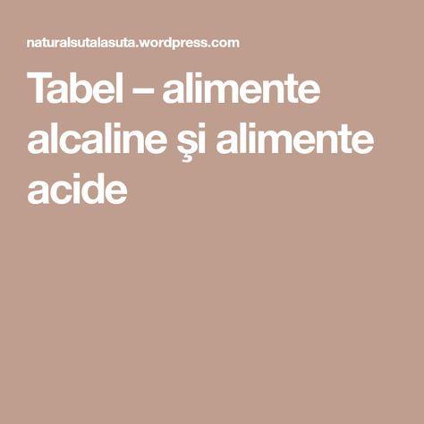 Tabel – alimente alcaline şi alimente acide