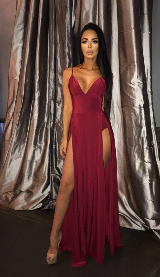 Carmen Double Split Dress - Wine | Sorelle UK - £29.99