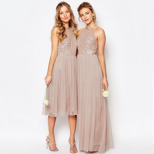 Charming Sequin Top Tulle Sparkly Gorgeous Short Long Romantic Bridesmaid Dresses, WG130
