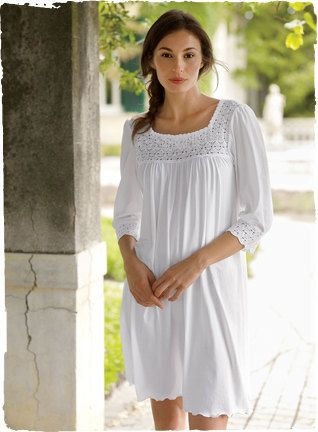 Peruvian Connection silky-soft nightgown enthralls in snow-white pima cotton jersey. Garnished with handcrocheted lace at the squared neckline, with ¾-sleeves and lettuce edging at the hemline.
