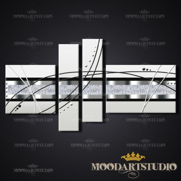 Cuadro moderno abstracto plateado gris y negro von MoodArtStudio daWanda auf DaWanda.com