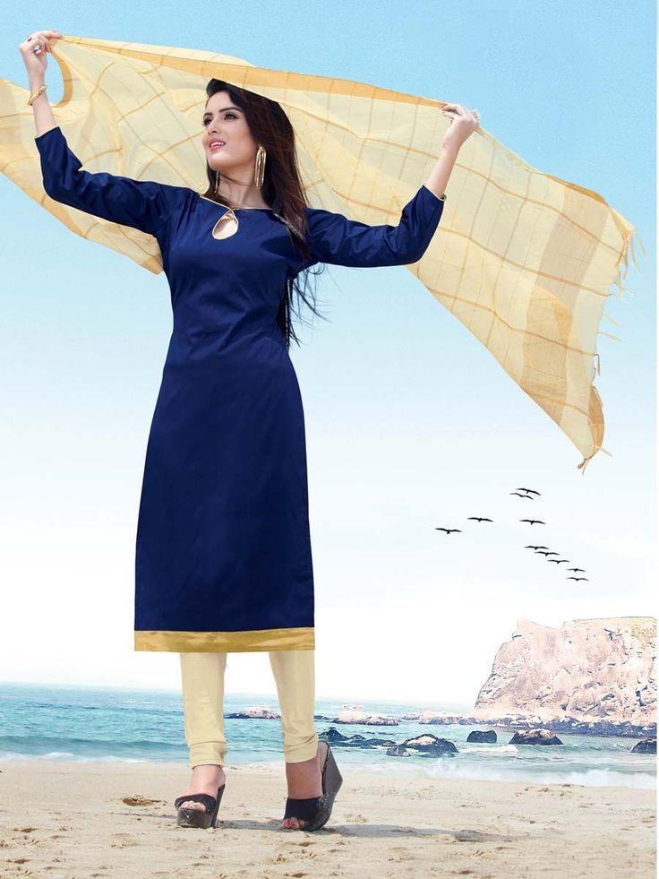 Conspicuous navy blue color kameez fabricated on satin with golden lace border.  Item code: SLANB018B Shop more: http://www.bharatplaza.com/women/salwar-kameez.html