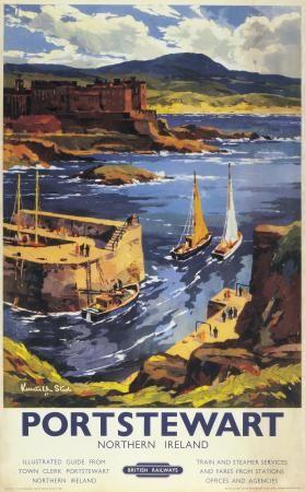 Irish Travel Art Poster, Portstewart County Derry, Northern Ireland