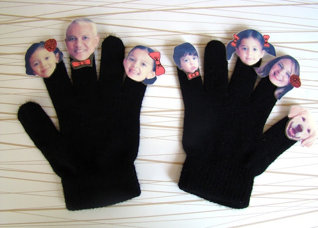 DIY Family Finger Puppets and  Cereal Box Theatre by salsapie #DIY #Finger_Puppets #salsapie