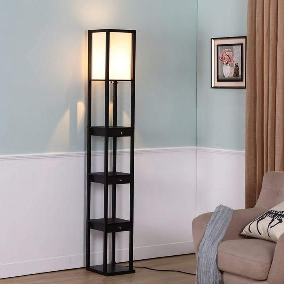 Floor Lamp Led, Skinny Floor Lamp With Shelves