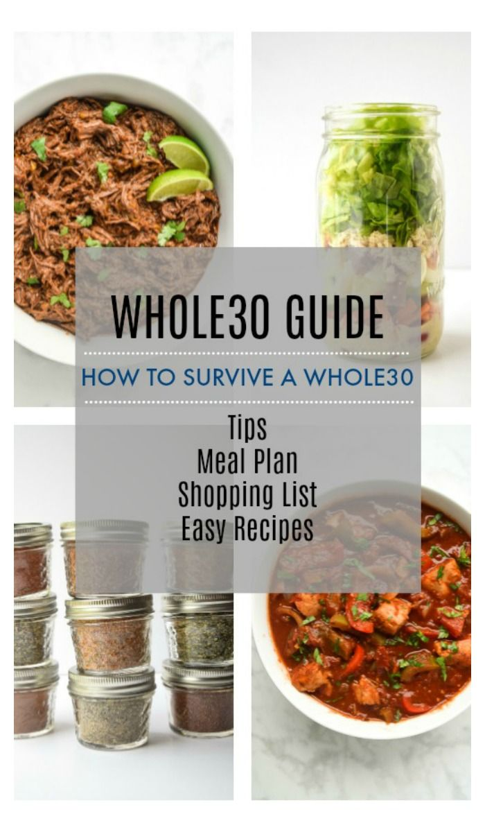 Complete Whole30 Guide - How to Survive a Whole30 (With Menu & Shopping List) - making Whole30 doable with this foolproof basic survival guide, complete with the best tips, meal plan, shopping list, and links to easy family friendly recipes. | tastythin.com