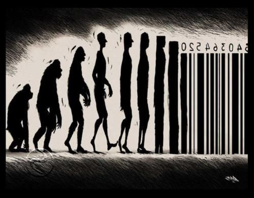 We evolve into a product of societyLife, Numbers, Street Art, Barcode, Funny Stuff, People, Evolution, True Stories, Streetart