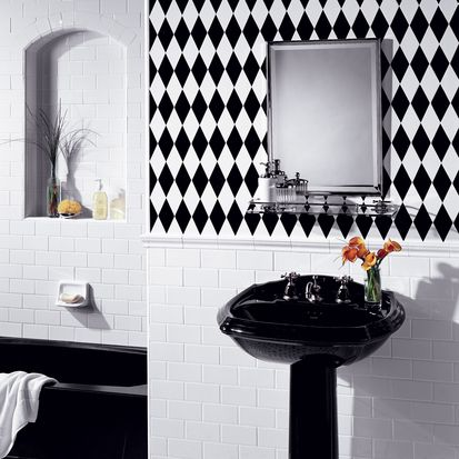 17 best images about bathrooms on pinterest diamond pattern marbles and porcelain tiles - American tin tiles wallpaper ...