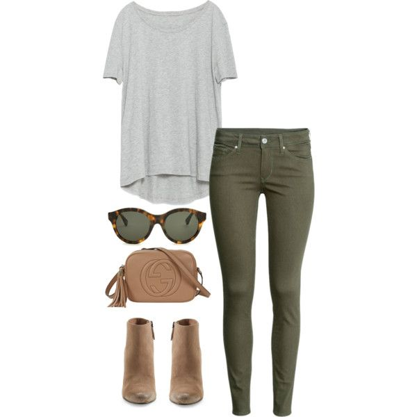 army green jeans by kcunningham1 on Polyvore featuring Zara, H&M, Dolce Vita, Gucci, RetroSuperFuture, women's clothing, women's fashion, women, female and woman