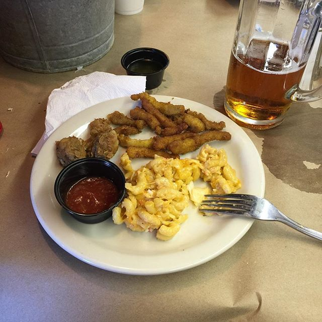 At the All U Can Eat Phillip's buffet. Third plate is fried clams and oysters and crab Mac & Cheese. I'm aiming for 5 plates. #vacation #summer #dailyphoto #ig2015 #365days