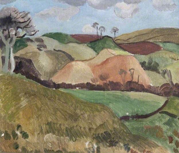 "Bankshead, Cumberland (1928) by Christopher Wood, Rugby Art Gallery. Painted while staying with Ben and Winifred Nicholson. ""He painted some pictures from nature, carrying an enormous box of paints and an easel over the rough fields and hills, and walking at his usual swift pace...He came up from the valley with the springing step of eternal youth."""