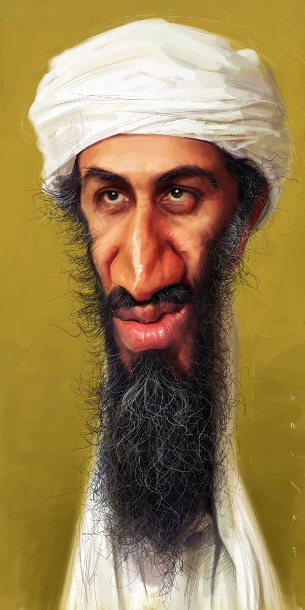 "caricature of al-Qaida leader Osama bin Laden by Jason Seiler • studied illustration in American Academy of Art in Chicago • printed in many mags • 2 portfolio books + dvd "" Sketching with Jason Seiler"" • Schoolism (onine art school) teacher • off'l site: http://jasonseiler.com/portfolio.php"