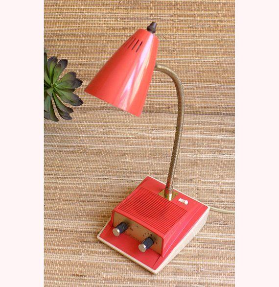 Desk Lamp Table Light With Radio Transistor Imar Flex Mid Century Modern Vintage Pink Coral Brass Goseneck 1950s 1960s 1970 Table Lamp Desk Lamp Lamp