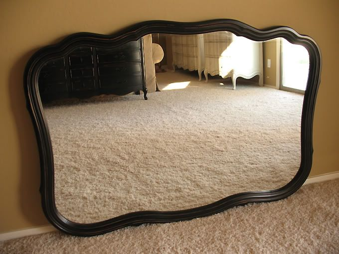 Dalloway Place : Dresser and Mirror Refinished Black with Distressed Finish