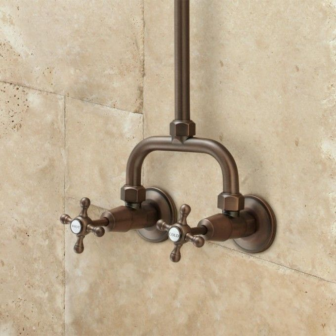 Baudette Exposed Pipe Wall-Mount Shower With Rainfall Shower Head