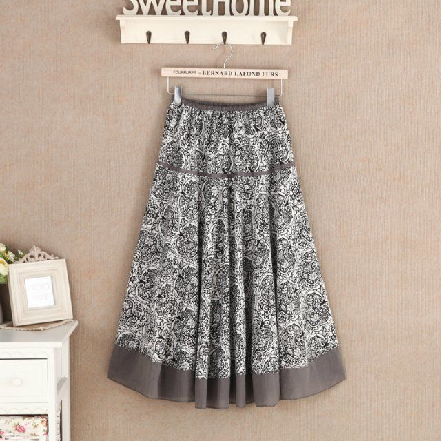 14 стиль качество юбки женщин печатный Saia лонга свободного покроя хлопок белье макси плиссированные юбки элегантный богемия пляж длинная юбка # g48 купить на AliExpress