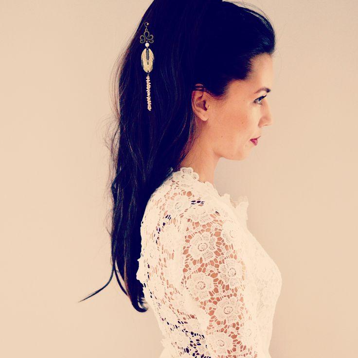 Pic à cheveux art déco doré et blanc - esprit geisha